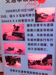 A picture of a gory road safety poster in Chengdu, 2007
