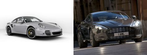 A Porsche 911 Turbo S and an Aston Martin Rapide