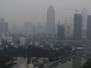 A picture of a smoggy day in Wuxi, China, December 2013.